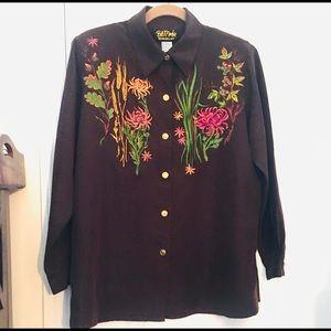 Vintage Bob Mackie Wearable Art Embroider Shirt M